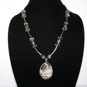"""Beautiful silver glass and real rock necklace 22"""""""